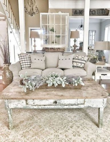 Awesome country farmhouse decor living room ideas 44