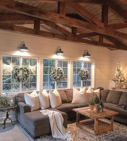 Awesome country farmhouse decor living room ideas 45