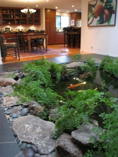 Design a fish pond garden with a waterfall concept 10