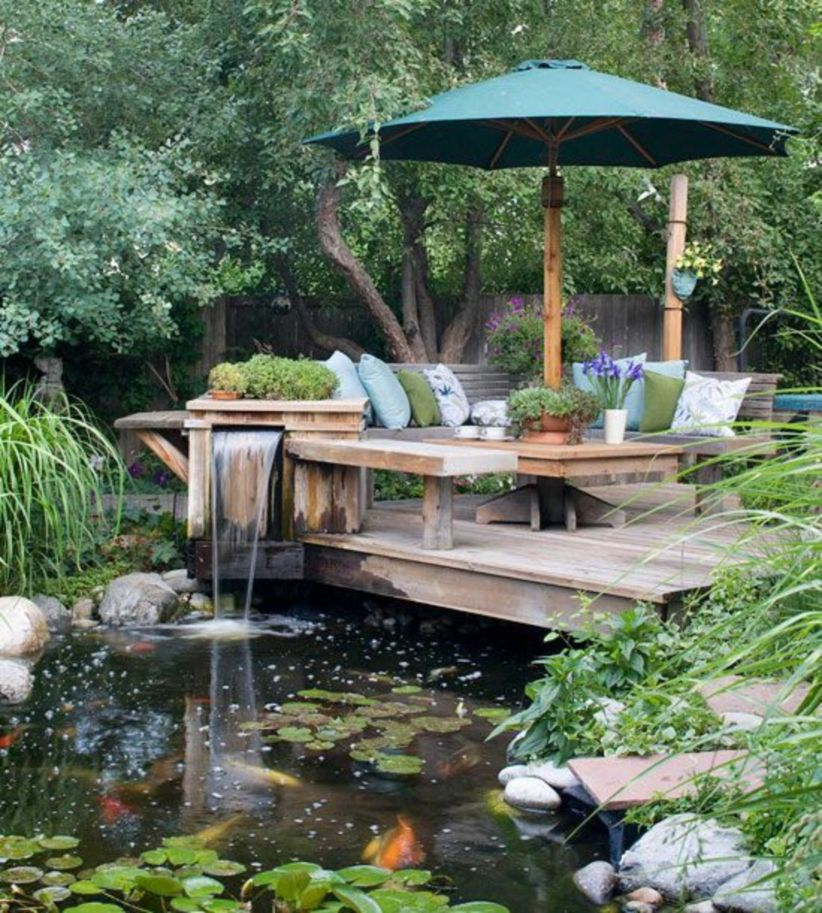 Design a fish pond garden with a waterfall concept 13