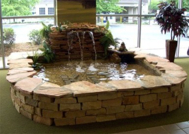 Design a fish pond garden with a waterfall concept 16