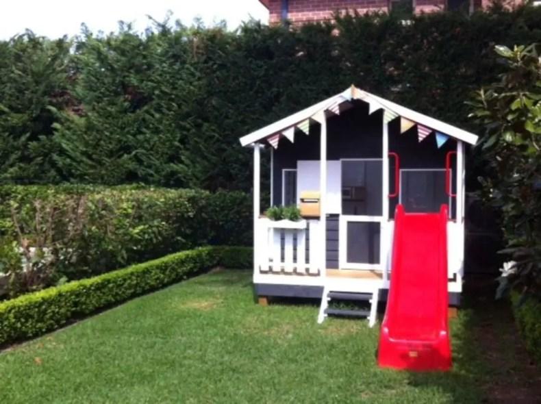 Backyard design ideas with children's slides 01
