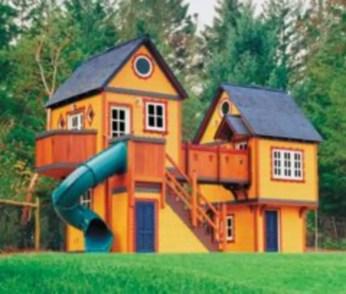 Backyard design ideas with children's slides 08