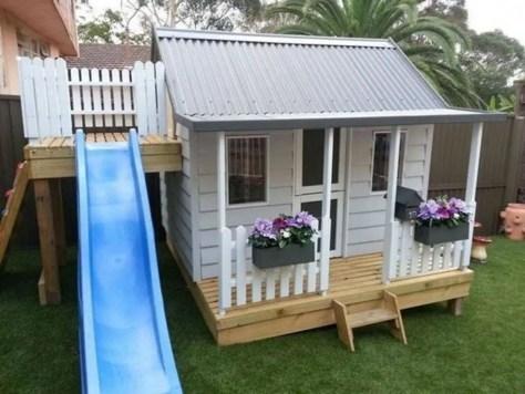 Backyard design ideas with children's slides 11