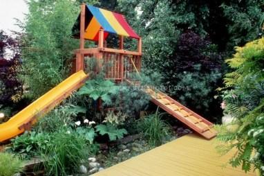 Backyard design ideas with children's slides 31