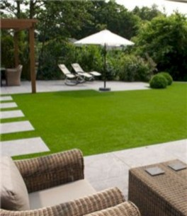 Garden exterior design ideas using grass that make your home more fresh 31