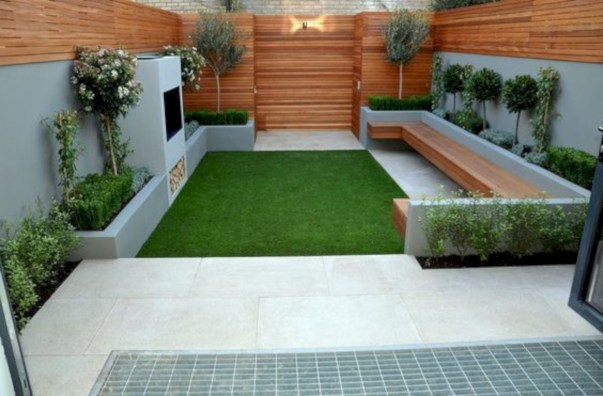 Garden exterior design ideas using grass that make your home more fresh 37