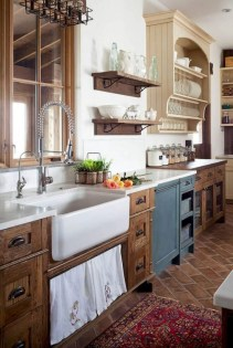 Rustic kitchen cabinet design ideas are very popular this year 03