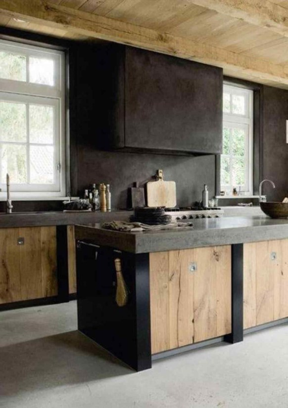 Rustic kitchen cabinet design ideas are very popular this year 54