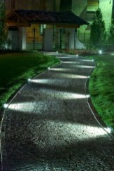 Front yard exterior design with beautiful garden lights 01
