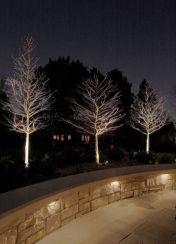 Front yard exterior design with beautiful garden lights 08