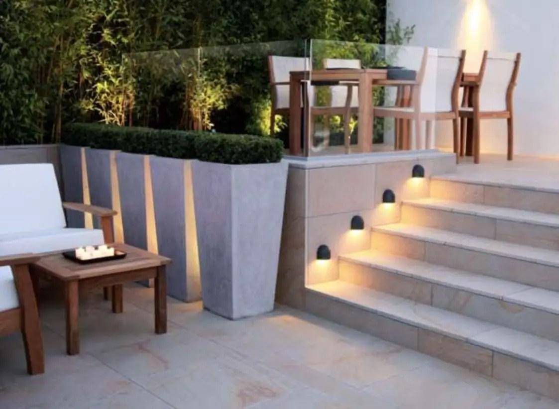 Front yard exterior design with beautiful garden lights 09