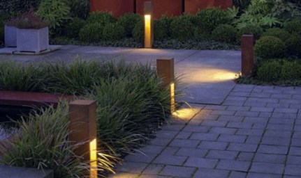 Front yard exterior design with beautiful garden lights 11