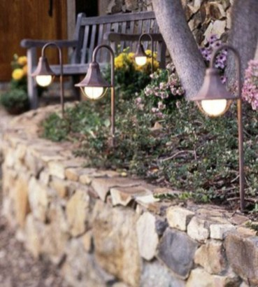 Front yard exterior design with beautiful garden lights 22