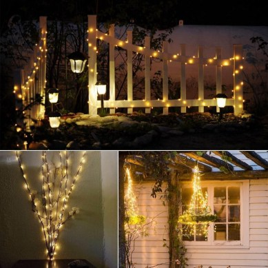 Front yard exterior design with beautiful garden lights 23