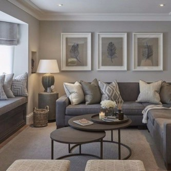 Living room gray wall color design ideas 22