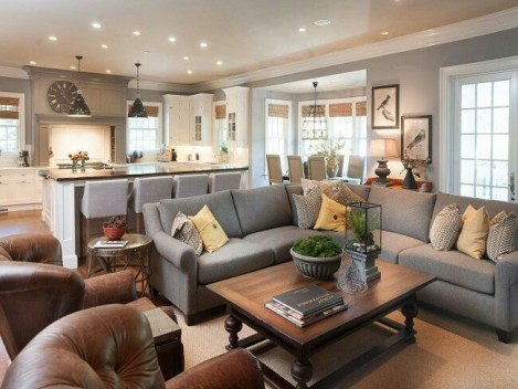 Living room gray wall color design ideas 39