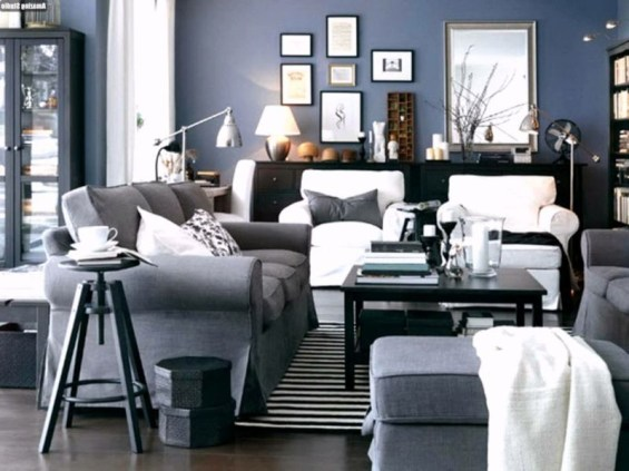 Living room gray wall color design ideas 44