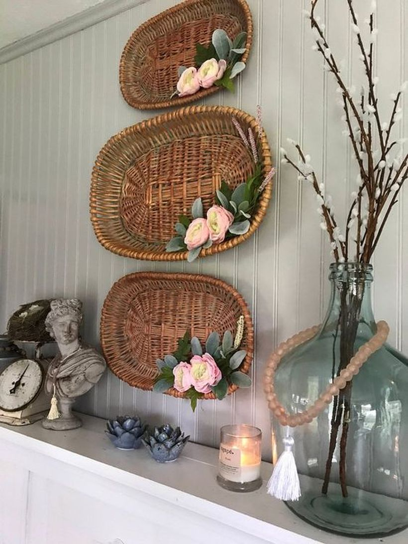 A wonderful natural ornament elements for summer with decorative baskets attached to the wall you will adore