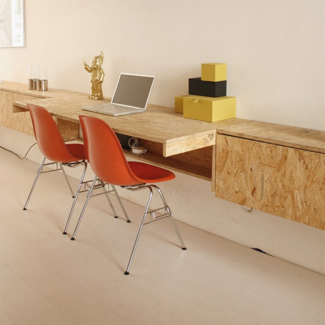 An affordable plywood wooden furniture desk ideas for office