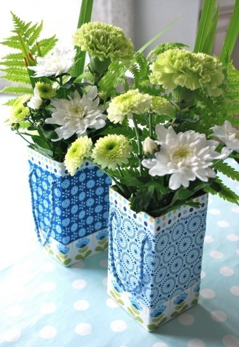 Beautiful diy vas tetra pack with blue color, unique motif to create more comfort for your living room