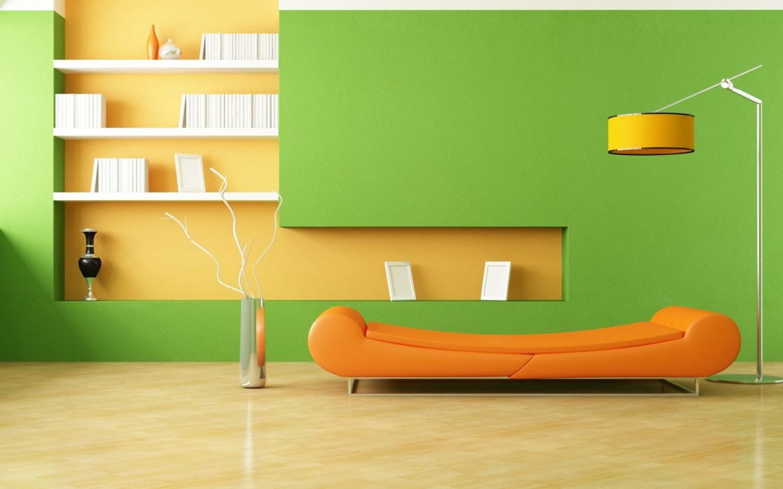 Beautiful green living room on the wall with a mixture of orange, long orange sofa, lights on the floor, tiled floors to create more beautiful