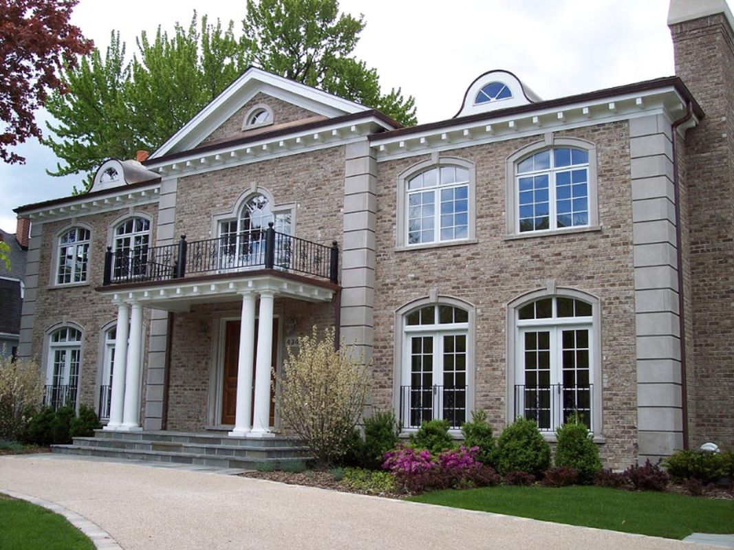 Classic exterior design ideas for best choice home design with light grey brick walls and classic window