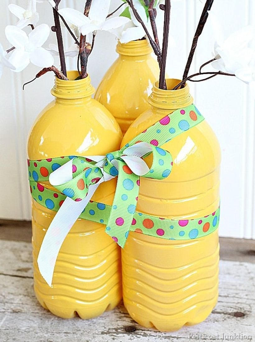 Diy plastic flower pots from bottles with yellow color, ribbon color splash