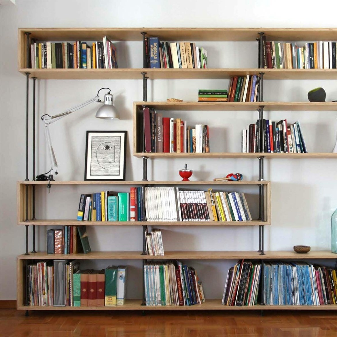 Industrial pipe material plywood furniture for bookcase on the walls