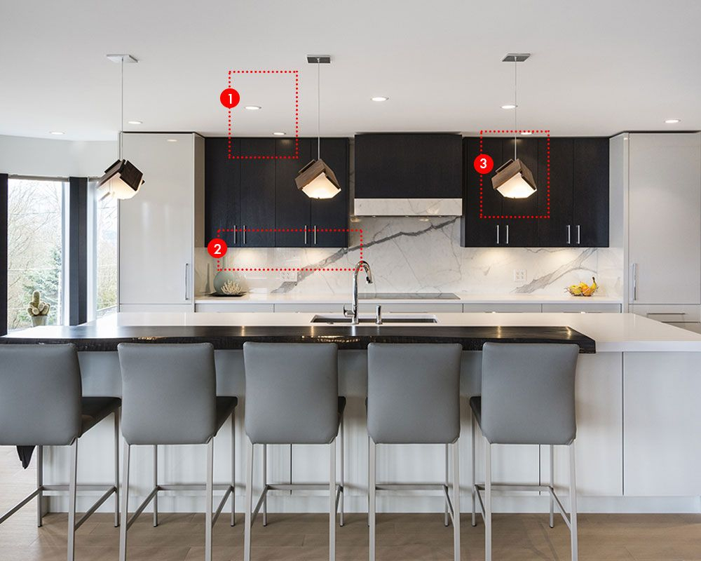 Modern kitchen lighting ideas with island-highlighting pendants, under-cabinet leds-will and led lamp on the ceiling