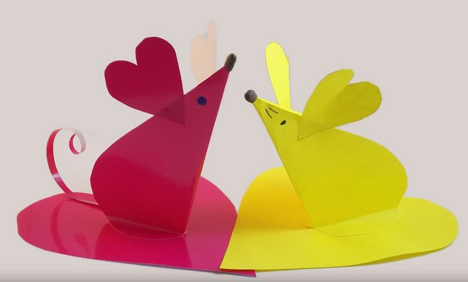 Small paper crafts ideas with mouses shape, red and yellow color