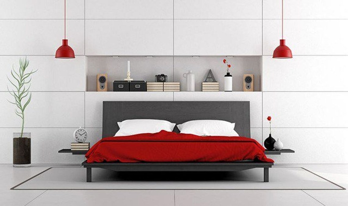 The best red bedroom design with red mattresses, red chandelier, white walls, white pillows