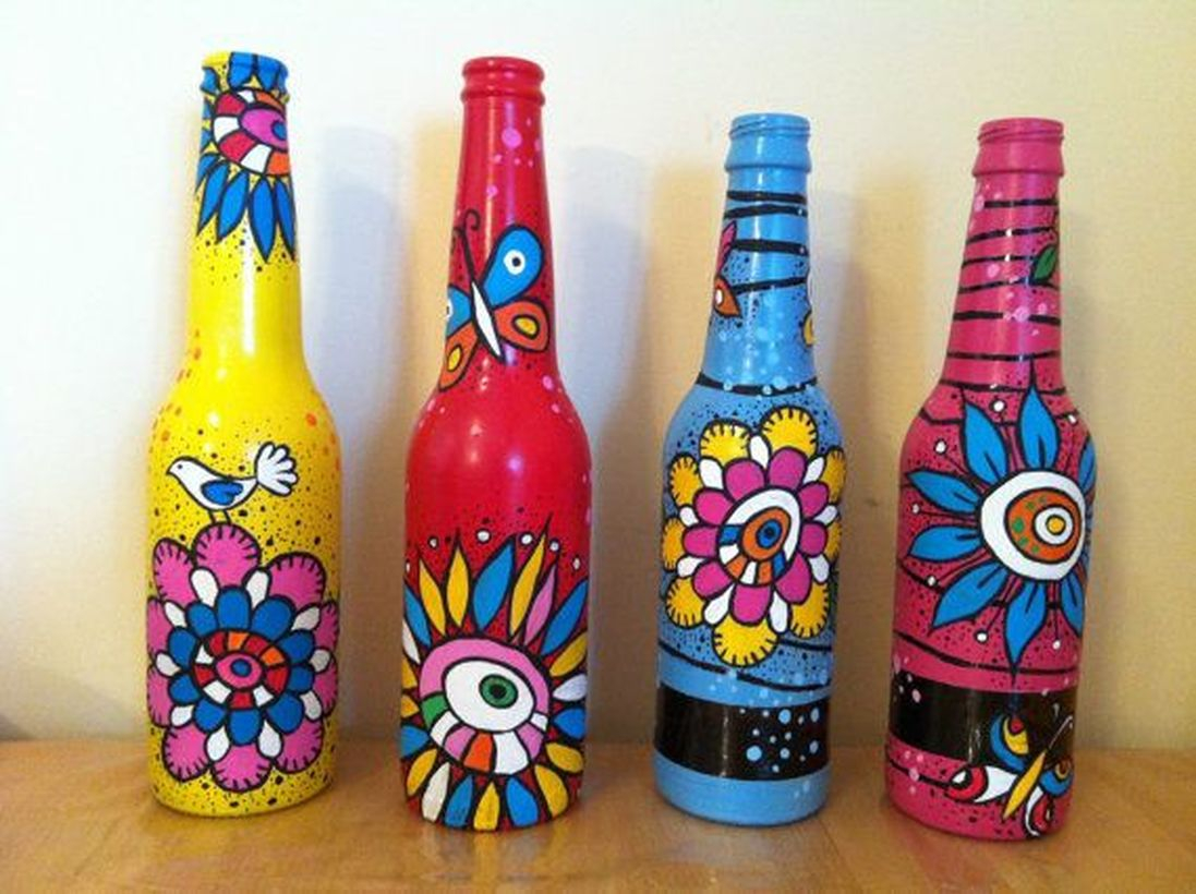 Unused items crafts painted glass bottle to make your classroom more interesting
