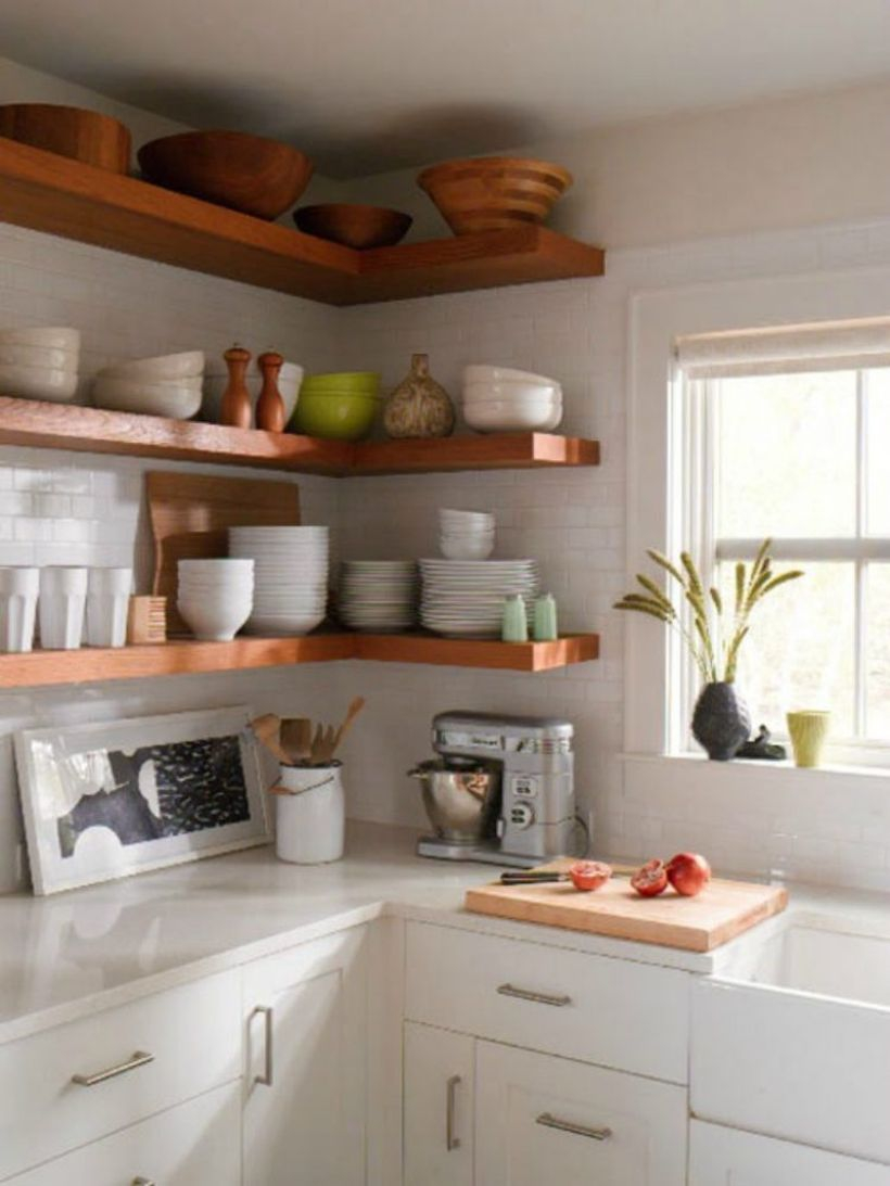 A creative long floating kitchen shelves to put some kitchen equipments