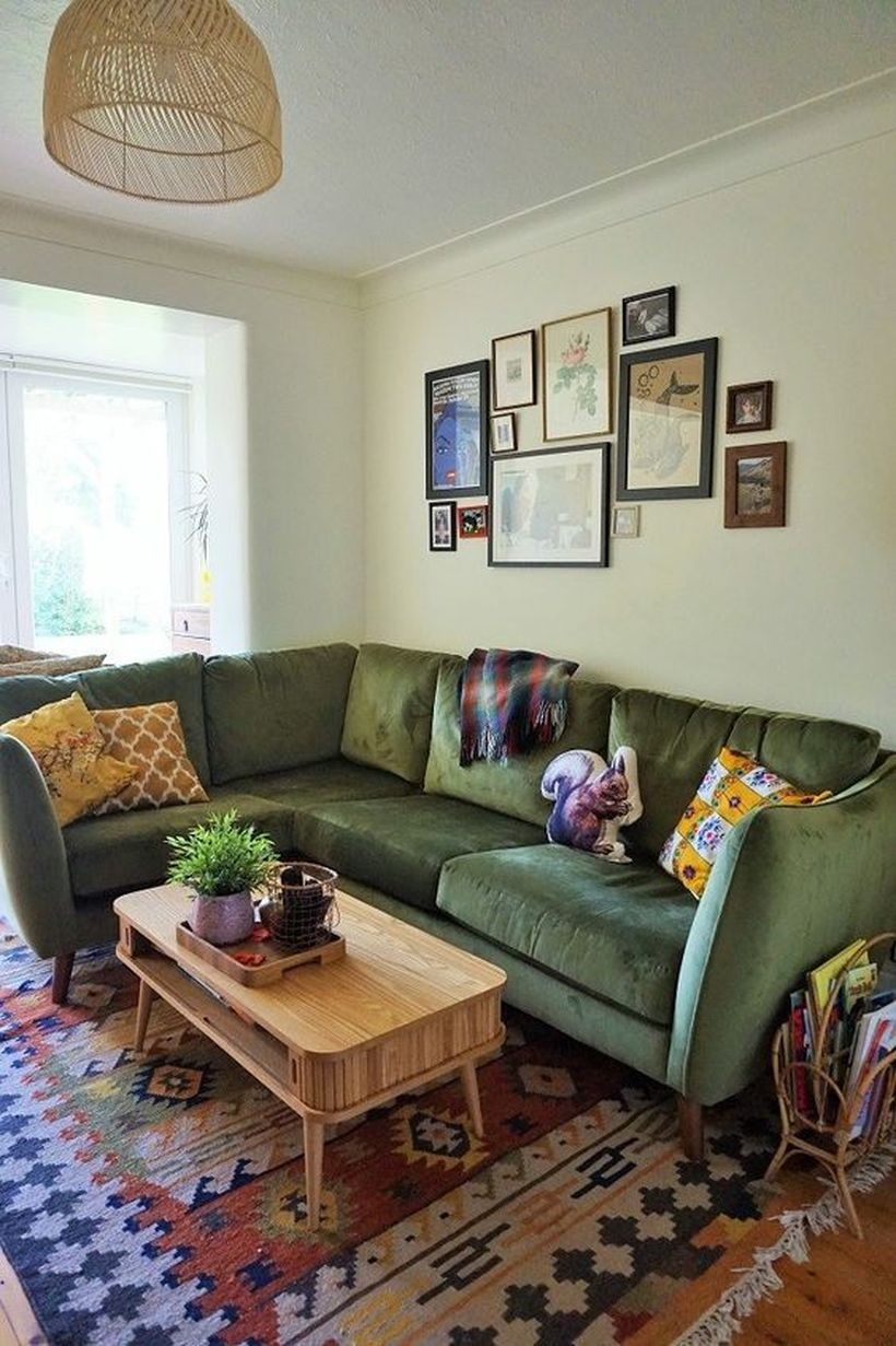 Letter L dark green sofa