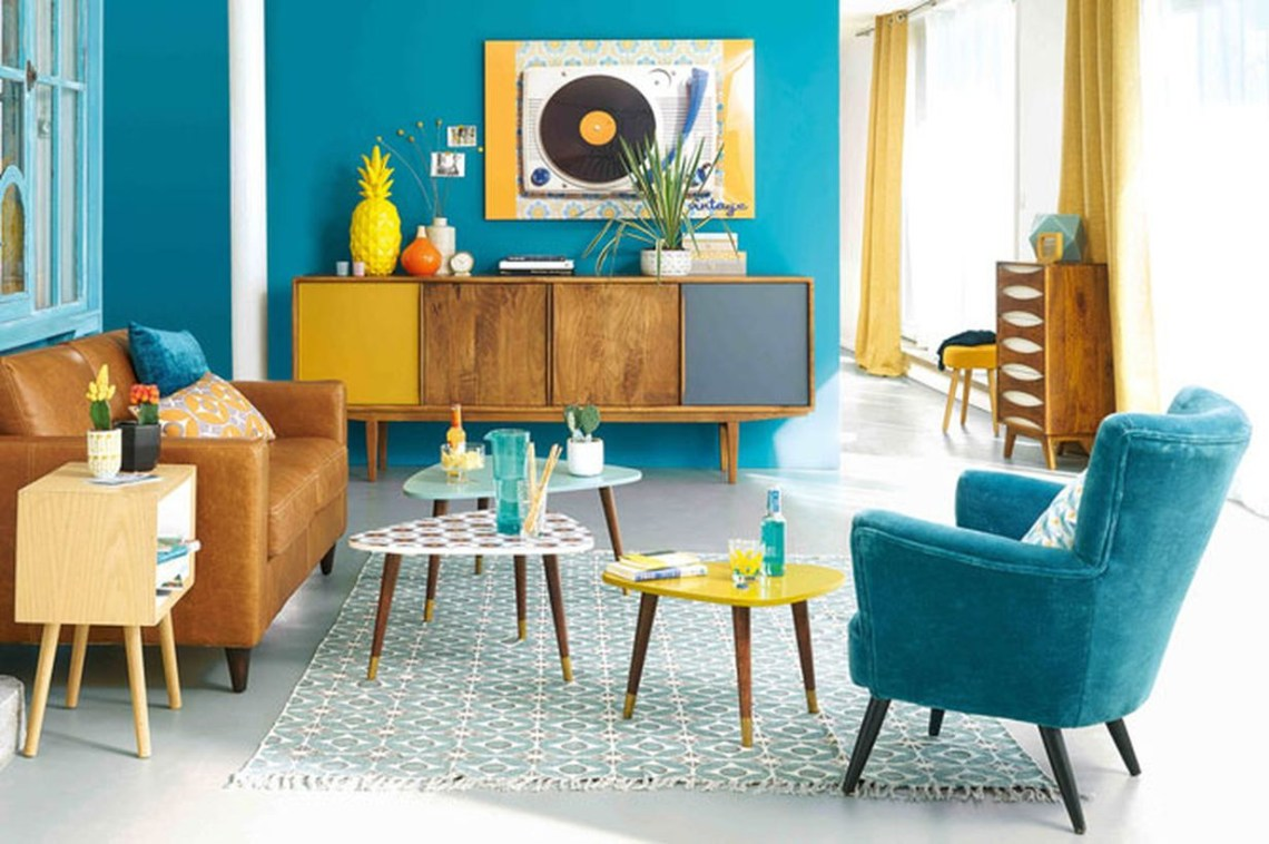 A fabulous home paint colors with tosca walls, chairs, tables, accessories, wooden cabinet and leather sofa