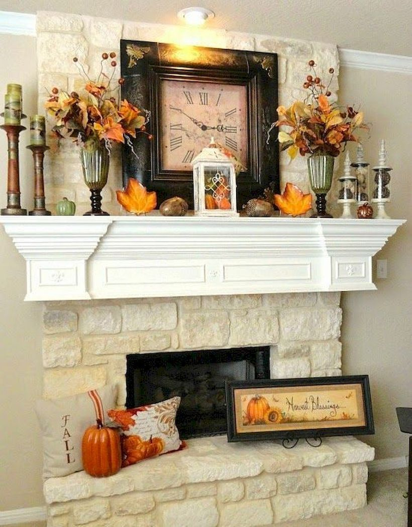 An amazing plants fall fireplace decoration