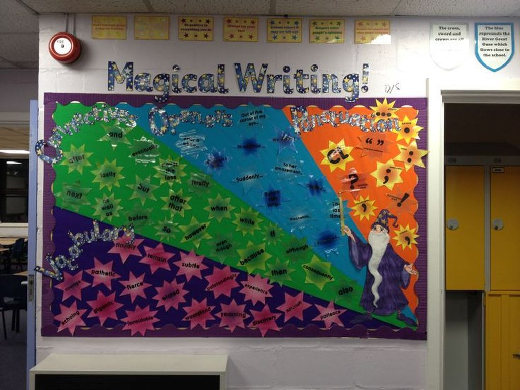 An amazing classroom board with magical writing