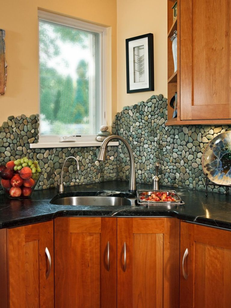 An amazing kitchen design with stone backsplash to perfect your natural kitchen