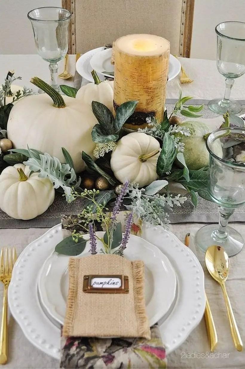 An awesome white pumpkin centerpiece