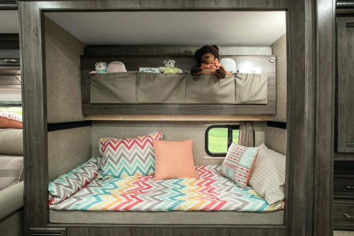 Beautiful a bunk bed for kid with zig zag motifs, zigzag motif pillow, diy gray storage and storage cabinets