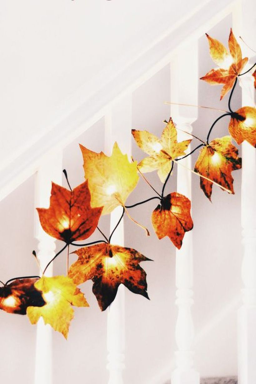 Beautiful dry leaves garlands with autumn leaf fairy lights to make more beauty