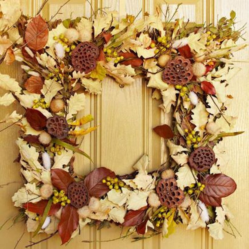 Beautiful dry leaves wreaths nature's artistry with white leaves dan brown leaves