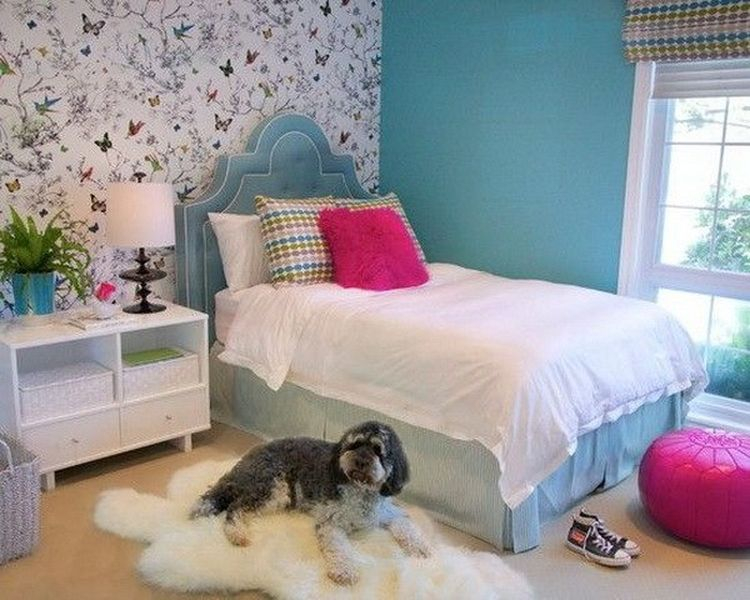 Beautiful floral wallpaper bedroom for teenage girls combined with blue painted walls and blue bed to perfect your bedroom design
