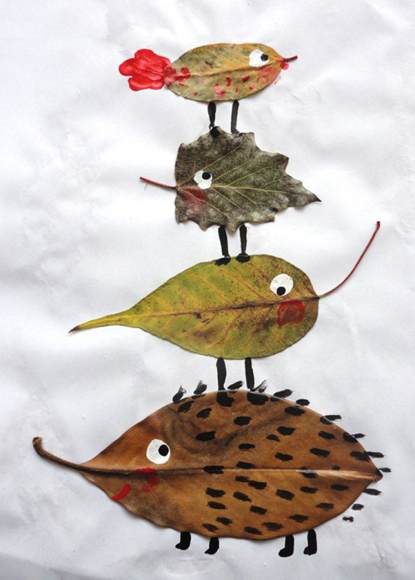 Best autumn leaves craft animal shape