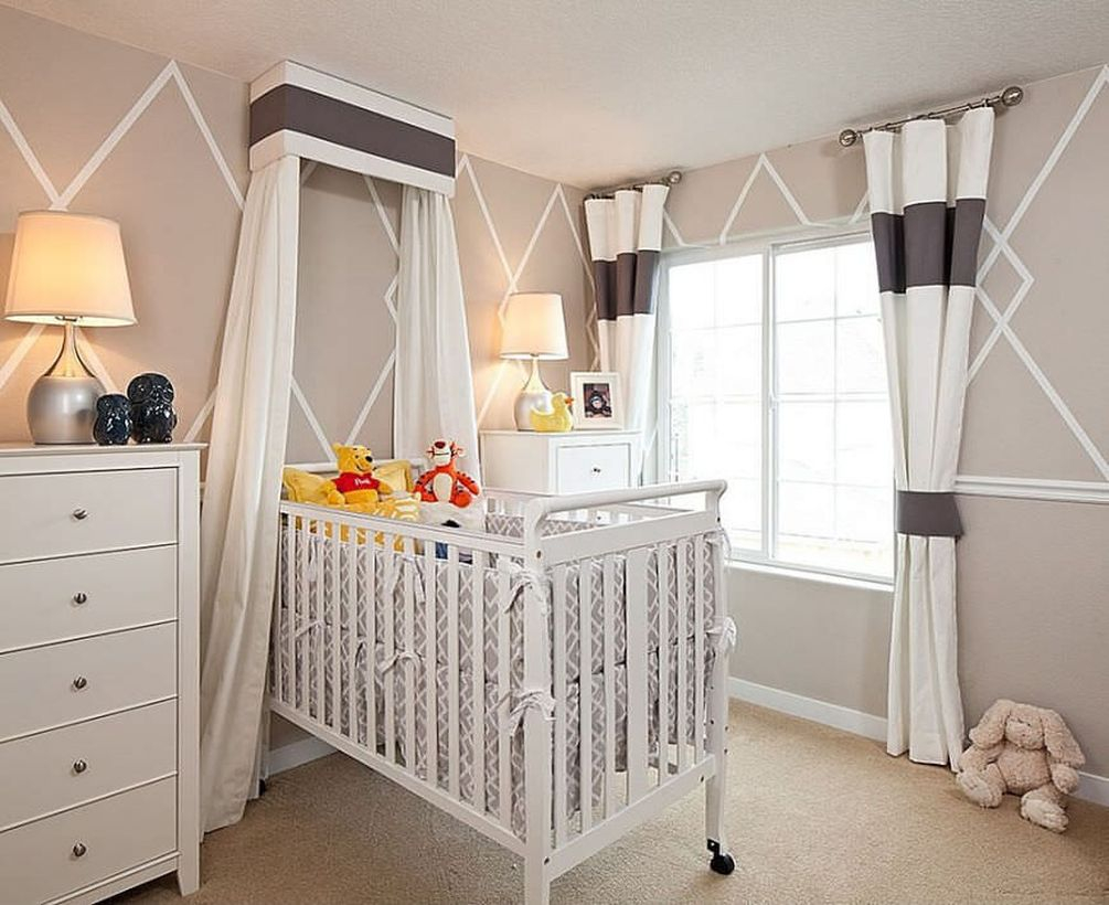 Cute beige color in the baby bedroom to make comfortable