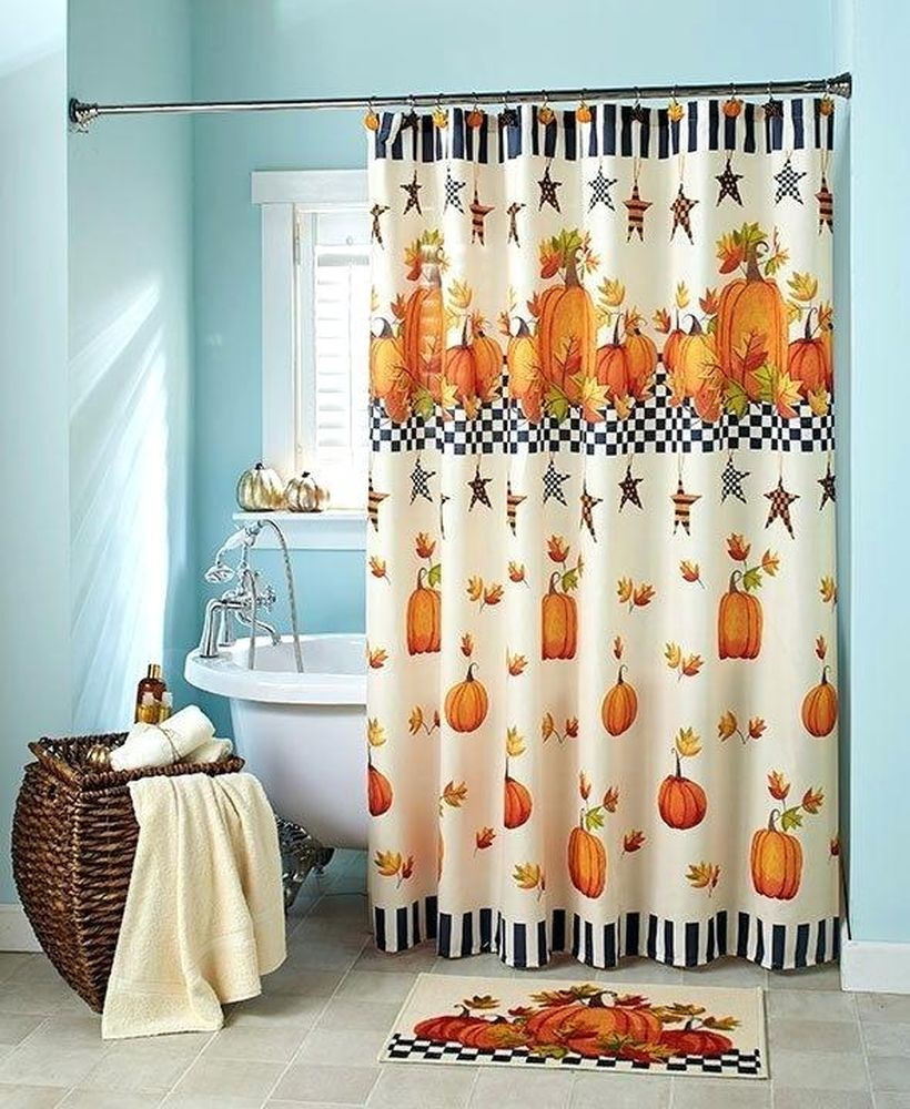 Fall shower curtain pumpkin stars
