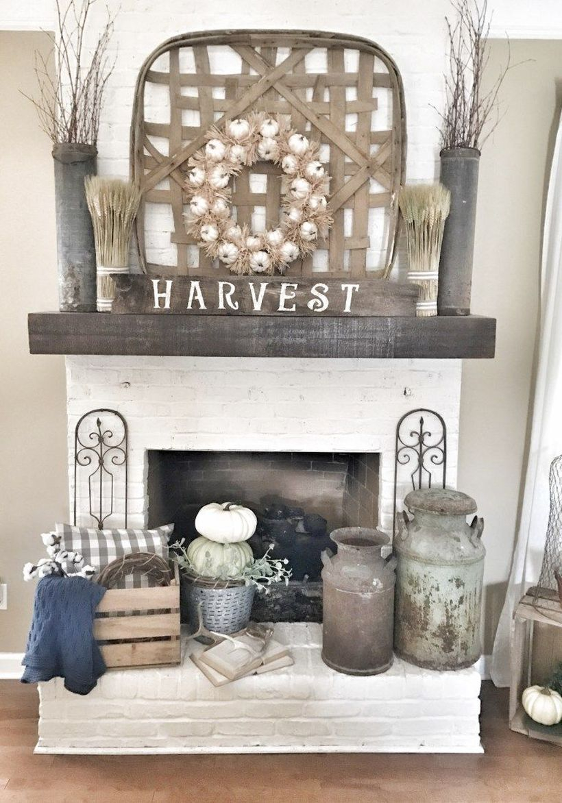 Farmhouse wreaths pumpkin fireplace decoration