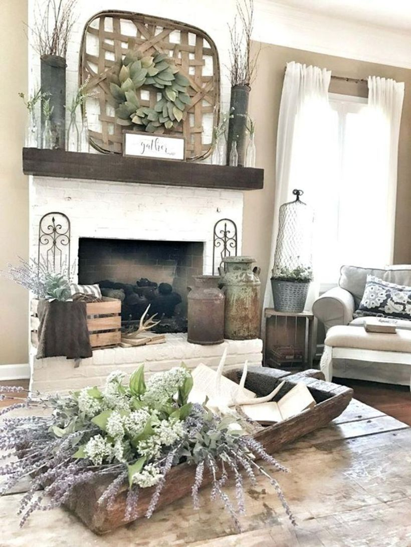 Fireplace wreaths decoration ideas