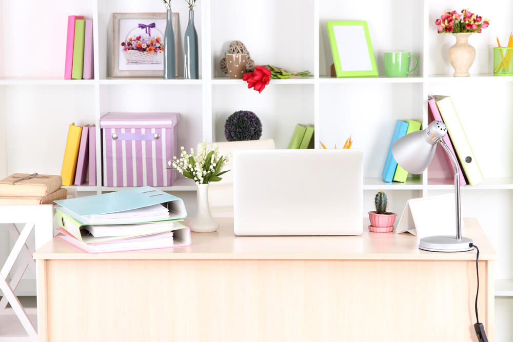 Get a classy, colorful look by combining bright neutrals with bold colors for your office home